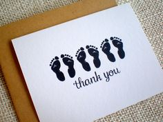 Triplet Baby Shower Thank You Cards - Set of 10 Gender Neutral Thank You Notes - Simple Triplets Footprints Cards - Boy Girl Gender Neutral Baby Shower Thank You Cards, Triplets, Thank You Notes, Footprints, Kraft Envelopes, New Baby Gifts, New Baby Products, How To Draw Hands, Card Making
