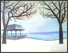 One nice evening in winter Painting with watercolor on canvas @ JFK UMASS, Boston, MA, USA