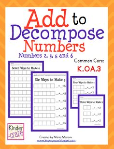 Add to Decompose Numbers 2,3, 5 and 6. FUN HANDS-ON MATH for only $1.50! Perfect for Common Core K.OA.3