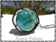Caged Chrysocolla Pendant  Chrysocolla Necklace by ScorpioFashions