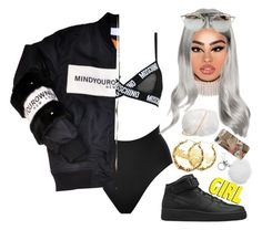 """""""CL - Hello Bitches"""" by alicehite ❤ liked on Polyvore featuring Moschino, SPANX, Marina J., NIKE, Chicnova Fashion and MICHAEL Michael Kors"""