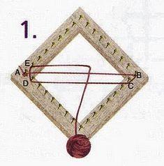TELAR CUADRADO PARA TEJIDO AL BIES  En este telar se teje de una manera similar al telar triangular. Si observamos el tejido, advertiremos q...