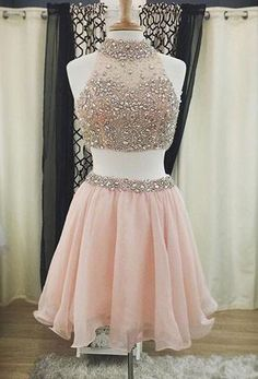 Two Pieces High Neck Light Pink Organza with Beaded Lace Homecoming Dresses,Sweetheart prom dress,Cute dress