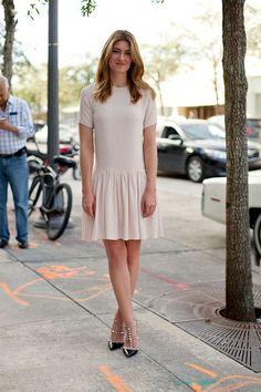 ShopBAZAAR's Megan Reynolds is blush-worthy in Rochas and Valentino.