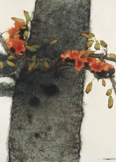 Lin Shun-Shiung(林順雄 Taiwanese, b.1948 ) 孤朗自照 Watercolor #tree #art
