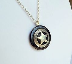 TEXAS LONE STAR Necklace Pendant Antique Silver Concho set in Black Onyx Stone, Lone Star Pendant, Texas Necklace, Texas Gift Man Woman by argenesgems on Etsy