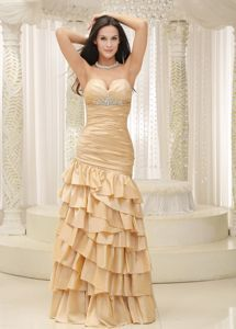 Buy timeless sweetheart prom pageant dresses with ruffled layers in champagne from popular prom dresses shop, sweetheart neckline mermaid gold prom dress,cheap floor length prom formal evening pageant celebrity dress with lace up back and . Senior Prom Dresses, Prom Dresses 2018, Women's Evening Dresses, Prom Dresses Online, Cheap Prom Dresses, Prom Party Dresses, Dama Dresses, Graduation Dresses, Prom Gowns