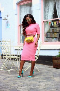 Pink crop top  high waisted skirt