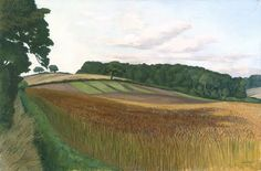 This reminds me so much of a landscape close to where I live, I can almost smell the ripening wheat. John Nash - Cornfield at Wiston-By-Nayland,Suffolk. British Artist, Landscape Paintings, Nature, Artist, Painting, British Art, Seascape, Pictures, Landscape Art