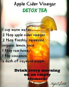 Apple Cider Vinegar Detox Tea http://www.4myprosperity.com/the-2-week-diet-program/ #DetoxDietProgram #Detoxtea