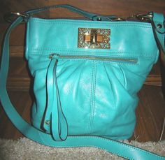 Turquoise Genuine Leather Purse or Handbag by B Makowsky, Gold Hardware #BMakowsky #adjustableshoulderorhandbag