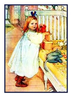 Girl Playing by Swedish Artist Carl Larsson Counted Cross Stitch or Counted Needlepoint Pattern
