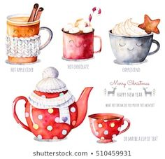 Merry Christmas and Happy New Year set. Watercolor collection with a choice of hot drinks:apple cider,tea,chocolate,cappuccino.What hot drink do you prefer this winter? Illustration Noel, Winter Illustration, Christmas Illustration, Watercolor Illustration, Watercolour, Christmas Drinks, Christmas Mood, Merry Christmas And Happy New Year, Hot Apple Cider