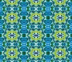 Tie Dye Mandala Star Pattern Green Blue Fabric By Khaus On Spoonflower