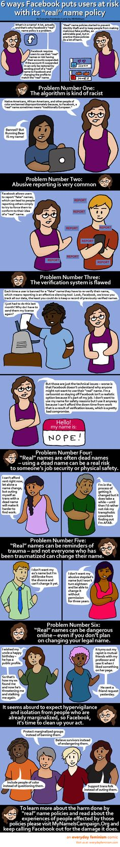 """6 ways Facebook puts users at risk with its """"real"""" name policy — from Everyday Feminism"""