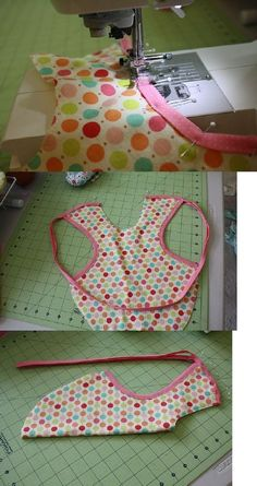 New sewing aprons baby bibs Ideas Baby Sewing Projects, Sewing Projects For Beginners, Sewing For Kids, Sewing Tutorials, Sewing Crafts, Tutorial Sewing, Bib Tutorial, Sewing Aprons, Sewing Clothes