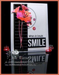 Poppy Smile CAS477 by Julie Warner (justwritedesigns) MFT images/dies, Memory Box  & Poppystamps dies