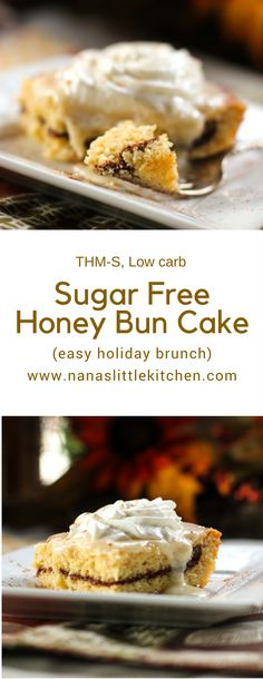 Sugar Free Honey Bun Cake is a great cinnamon delivery system! It& a wonderful little snack cake that really satisfies those honey bun cravings. Sugar Free Desserts, Sugar Free Recipes, Healthy Dessert Recipes, Low Carb Desserts, Gluten Free Desserts, Low Carb Recipes, Real Food Recipes, Healthy Sweets, Healthy Cake
