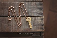 Wifey Key Necklace | wedding, anniversary gift hand stamped