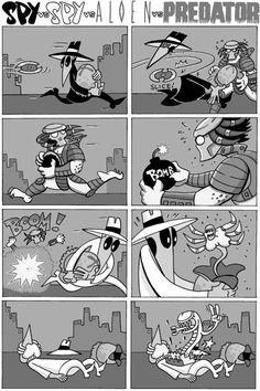Spy vs Spy vs Alien vs Predator by Ryan Dunlavey Cartoon Crossovers, Cartoon Jokes, Funny Cartoons, Spy Cartoon, Arte Alien, Predator Movie, Comic Manga, Aliens Funny, Mad Magazine