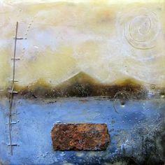Assemblage and encaustic