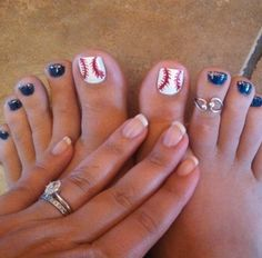 This Cool summer pedicure nail art ideas 71 image is part from 75 Cool Summer Pedicure Nail Art Design Ideas gallery and article, click read it bellow to see high resolutions quality image and another awesome image ideas. Baseball Nail Designs, Baseball Nail Art, Football Nails, Baseball Toes, Baseball Girlfriend, Funny Baseball, Baseball Party, Baseball Stuff, Baseball Videos