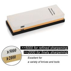 HornTide Combination Whetstone (2000/5000 Grit) Two-Sided Knife Sharpener Sharpening Stone 7-Inch Plastic Stand Included