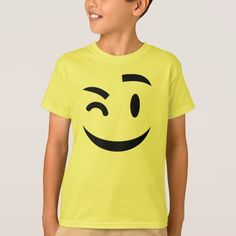 Cute winking emoji Child Tee by emoji_pillows on Zazzle @zazzle #zazzle #smily #face #cartoon #yellow #black #fun #funny #cute #smile #smiling #sweet #cool #pop #culture #wink #eye #brow #eyebrow #buy #shop #sale #shopping #look #blog #blogging #awesome #awesomeness #tee #children #child #girl #boy #apparel #clothes #tshirt #shirt