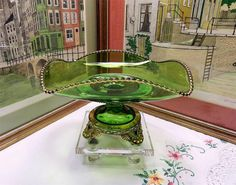 "EAPG US GLASS COLORADO LACY MEDALLION 10"" SQUARE FLARED FOOTED GREEN COMPOTE"