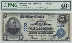 Honolulu, HI - Ch. 5550 - $5 1902 Blue Seal If you are working on a state blue seal set or just want a pretty territorial, then you are going to have a tough time doing much better than this plain back from Honolulu. The grade speaks volumes. We can further confirm that this example is free of any hard folds. It has better than average centering. The cashier and president signatures are boldly stamped in black ink.