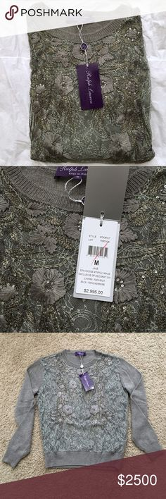 Ralph Lauren Cashmere Floral Grey Sweater Ralph Lauren purple label cashmere crew neck sweater with floral lace design on front. New with tags, never worn. Ralph Lauren Purple Label Sweaters Crew & Scoop Necks