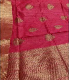 Pink Banarasi Tussar Silk Meena Patola Border Saree