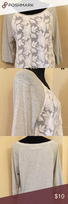 """Abercrombie & Fitch Sheer Lace front 3/4 sleeve T Sheer front panel  Soft t-shirt back  Henley baseball style knit top  Armpit to armpit 20"""" Length 23"""" Abercrombie & Fitch Tops Tees - Long Sleeve"""