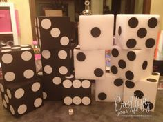 Make your own over-sized dice for Bunco decorations for garland or on the tabletop!
