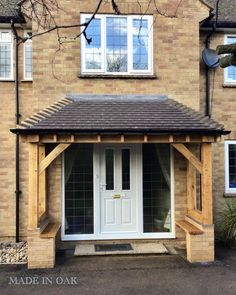 Made in Oak, Oak Framed Porches Porch Designs Uk, Front Porch Design, Fence Design, Front Door Canopy, Porch Canopy, Front Doors, House With Porch, House Front, Porch Oak