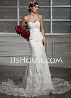 Mermaid Sweetheart Chapel Train Satin Tulle Wedding Dress With Lace