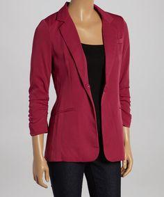 Another great find on #zulily! Raspberry Ruched-Sleeve Blazer by Audrey 3+1 #zulilyfinds