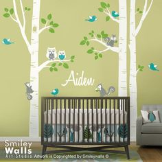 Nursery Wall Decal Birch Trees Forest Animals Kids by smileywalls, $145.00