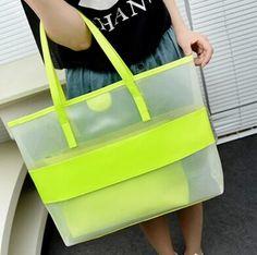 (2 unids/set) Fashiong Señora Hombro Bolsa de Playa Bolsa de Color Caramelo Bolsa de Playa Impermeable Transparente Paquete Bolso de Las Mujeres
