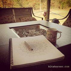 Finding my center.. mandala inking.. #kitskorner #sketchbook #mandala #mandalas #inking #findyourcenter #meditate #decktime #frontporchsitting #art #zendala #zendalas #zendoodle #zenart #mandalapassion #mandalalove #meandmyinkpen #doodles #doodling #inspired #pencilfirst #pilot #ink #blackandwhite #hallelujah