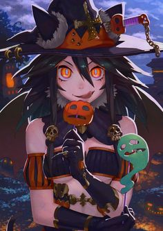 Master Anime Ecchi Hentai Picture Wallpapers Halloween Boy/Girl Scene Drawing Illustration Lollipop (http://epicwallcz.blogspot.com/) Solo Smile Monster Ghost Elbow Gloves Witch Hat Moon Thighhighs Thongs (http://masterwallcz.blogspot.com/) Cleavage Wings Stockings