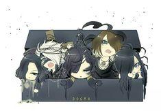 Chibi Aoi, Reita, Ruki, Kai and Uruha. (the GazettE) this is so kawaii! ^ω^