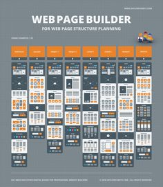 Digital Web Page Builder by UX Flowcharts on Web Page Builder, Map Marker, Flow Chart Template, Map Icons, Digital Web, Portfolio Images, Professional Website, Wireframe, Card Sketches