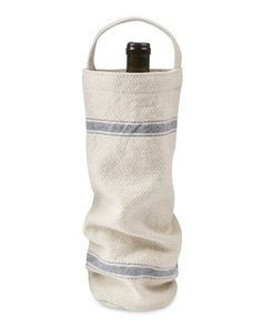 Provencal Striped Bottle Tote Wine Bag #WilliamsSonoma with a bottle of Ferrari-Carano Fume Blanc tucked in