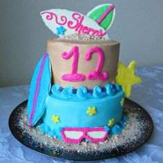 Awesome Image of Beach Themed Birthday Cakes Beach Themed Birthday Cakes Beach Party Birthday Cake A Bajillian Recipes 12th Birthday Cake, Brithday Cake, Themed Birthday Cakes, Birthday Bash, Birthday Ideas, Beach Themed Cakes, Beach Cakes, Beach Ball Cake, Pinterest Cake