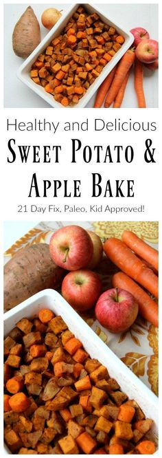 Paleo Reboot - Delicioius and healthy sweet potato and apple bake. 21 day fix recipe, paleo recipe, gluten free, healthy, and kid approved! Vegetarian Thanksgiving, Thanksgiving Recipes, Fall Recipes, Dinner Recipes, Thanksgiving Feast, Apple Recipes, Baking Recipes, 21 Day Fix, Protein Shakes