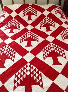 Antique 19th C Turkey Reds Pieced Tree Quilt with Fancy Quilting | eBay, controlledcupidity