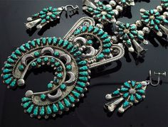Sterling Silver and Turquoise Squash Blossom Necklace and earring SetVintage Navajo