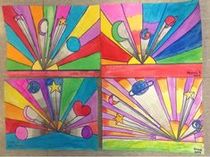 Mrs. Knight's Smartest Artists: 4th grade. Peter Max's work, one point perspective using liquid watercolor.