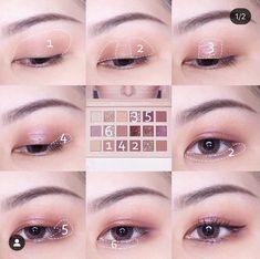 Soft Eye Makeup, Shimmer Eye Makeup, Asian Eye Makeup, Huda Beauty Makeup, Eye Makeup Steps, Eye Makeup Art, Cute Makeup, Eyeshadow Makeup, Korean Makeup Tips